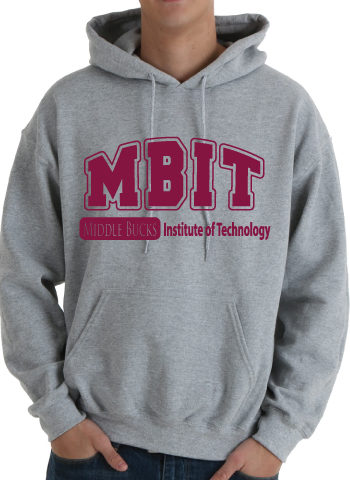 Gray Hooded Sweatshirt With Maroon MBIT Logo