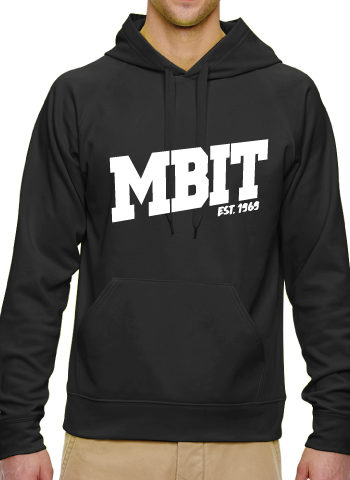 Black Sport Hooded Sweatshirt With White Lettering