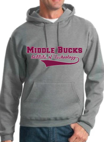 Gray Hooded Sweatshirt With Maroon And White MBIT Logo