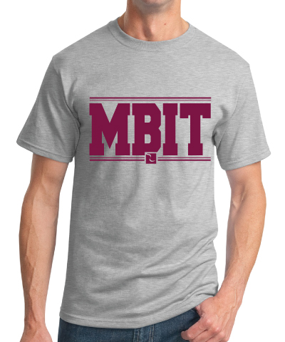 Grey Tshirt With Maroon MBIT Logo Lettering