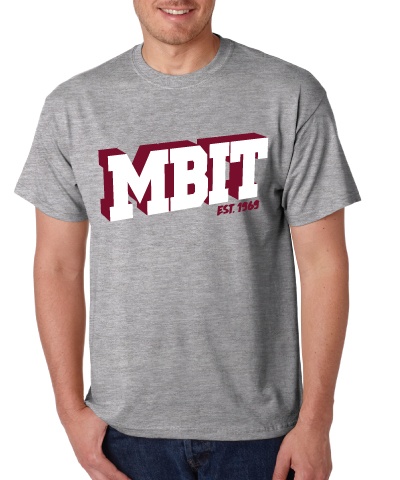 Grey MBIT Logo With Maroon And White Tee