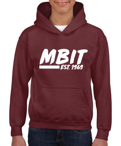Maroon Hooded Sweatshirt With White MBIT Logo