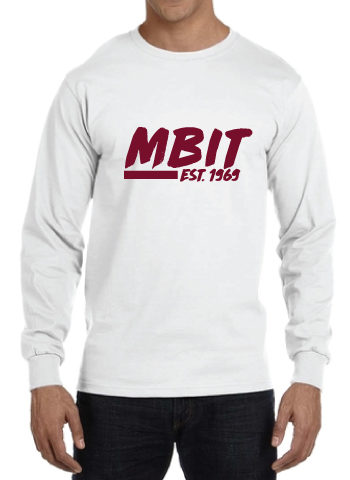 White Long Sleeve Tee With Maroon Logo